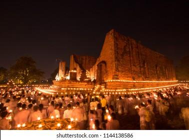 AYUTTHAYA, THAILAND - July 27, 2018 : Thai buddhist mediation in old temple at Wat Maheyong, Phra Nakhon Si Ayutthaya Province,Thailand.