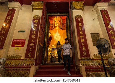 Ayutthaya, Thailand -July, 31, 2018 : Unidentified name people go to temple to pray for good luck and success in life at Wat Phanan Choeng, Buddha statue is called Luang Pho Tho of Ayutthaya, Thailand