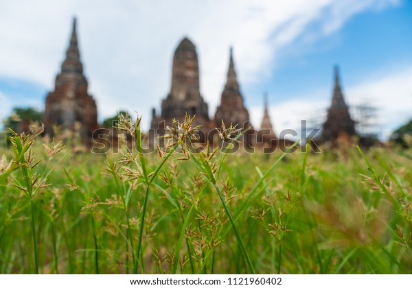 Ayutthaya Thailand June 16, 2018 Wat Chaiwatthanaram is an old temple in the Ayutthaya period. There are people walking the ruins and ancient traces.