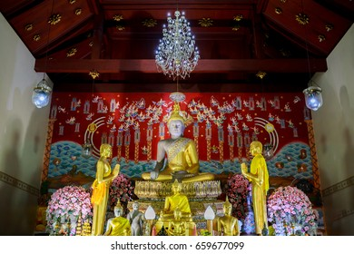 Ayutthaya, Thailand - June 4, 2017: The ancient Buddha image in Wat Yai, Ayutthaya, Thailand.