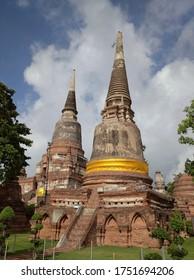 AYUTTHAYA, THAILAND - JUNE 6, 2020: Ancient Pagodas at Ayutthaya Historical Park.