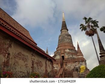 AYUTTHAYA, THAILAND - JUNE 6, 2020: Wat Yai Chai Mongkhon at Ayutthaya Historical Park.