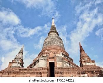 AYUTTHAYA, THAILAND - JUNE 6, 2020: Three Ancient Pagoda at Wat Yai Chai Mongkhon.
