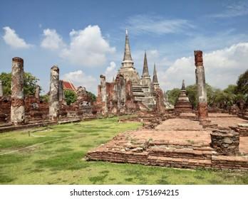 AYUTTHAYA, THAILAND - JUNE 6, 2020: Phra Si Sanphet Temple Ancient Pagoda and Courtyard Ruin at Ayutthaya Historical Park.