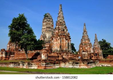 AYUTTHAYA, THAILAND:  The majestic ruins of 1629 Wat Chai Watthanaram built by King Prasat Tong with its principal Prang (center) representing Mount Meru, the abode of the gods