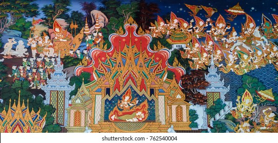 AYUTTHAYA ,THAILAND - MARCH 4, 2015 : Ancient Buddhist temple mural painting of the life of Buddha inside of Wat Phra khao in Ayutthaya, Thailand