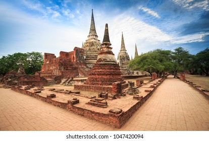 AYUTTHAYA, THAILAND- MARCH 4,2018 : The old pagoda and temple in the city of Ayutthaya Historical Park.