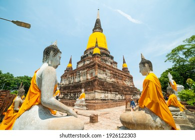 Ayutthaya, Thailand - May 18, 2019: Wat Yai Chaimongkon, the ancient Buddhist temple including ancient pagoda and Buddha statues where is the famous tourism travel destination in Ayutthaya, Thailand