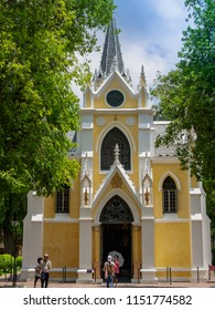 Ayutthaya, Thailand - May 23, 2018: Tourists visiting Wat Niwet Thammaprawat, Thai Buddhist temple which  is the only Neo-Gothic monastery in Thailand.