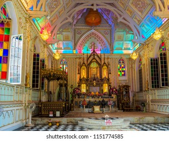 Ayutthaya, Thailand - May 23, 2018: The interior of Wat Niwet Thammaprawat, Thai Buddhist temple which  is the only Neo-Gothic monastery in Thailand.