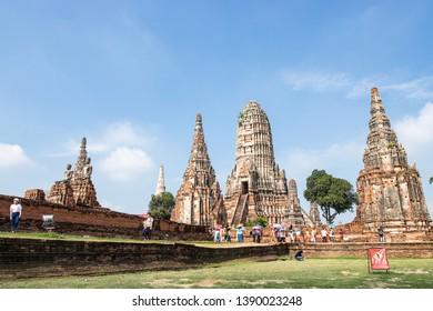 AYUTTHAYA, THAILAND - MAY13, 2018: Tourist travel to visit Wat Chaiwatthanaram. It is one of Ayutthaya's most impressive temples.