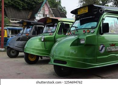 Ayutthaya, Ayutthaya / Thailand - November 8 2017: Tuktuks in the ancient city of Ayuthaya in Thailand.