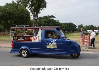 Ayutthaya, Ayutthaya / Thailand - November 8 2017: A tuktuk in the ancient city of Ayuthaya in Thailand.