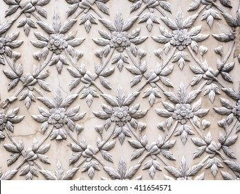 Ayutthaya, Thailand - Oct  23, 2014 : The White stucco design of native thai style on the Wall