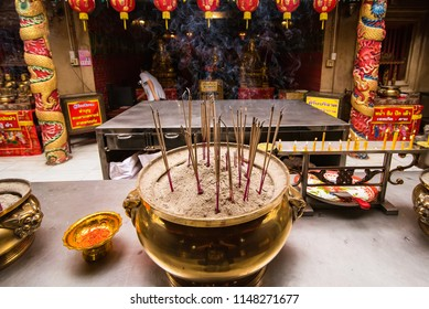 Ayutthaya, Thailand - October, 21, 2016 : Chinese buddhist temple at Wat panancherng, Jao Mae Soi Dork Mark the Chinese Shrine at Ayuttaya.