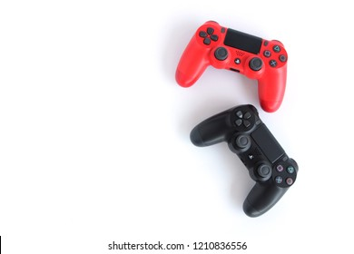 AYUTTHAYA, THAILAND - OCTOBER 24, 2018: PLAY STATION 4 JOY STICK CONTROLLER BY SONY, ISOLATE CONTROLLER FOR PS4 BY SONY