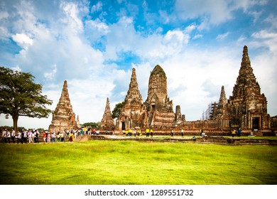 Ayutthaya, Thailand - October,13,2018: This is Wat Chaiwatthanaram is a Buddhist temple in the city of Ayutthaya Historical Park, Ayutthaya, Thailand.
