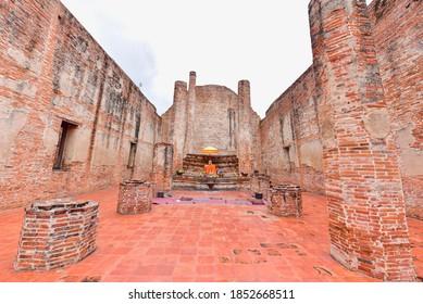 Ayutthaya, Thailand - September 12, 2020: Buddhist Ordination Hall of Wat Maheyong