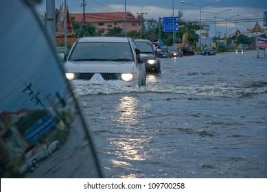 AYUTTHAYA, THAILAND - SEPTEMBER 12: Heavy flooding from monsoon rain in Ayutthaya and north Thailand arriving in Ayutthaya suburbs on September 12, 2011 in Ayutthaya, Thailand.
