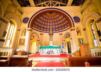 AYUTTHAYA, THAILAND: September 15 : Interior decoration of the Catholic church at St. Joseph Catholic Church on September 20, 2014 in Ayuthaya Province, Thailand.