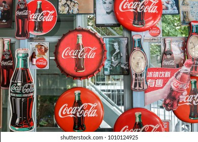 Ayutthaya, Thailand - September 24, 2017: Coca Cola sign displayed on beverage shop wall