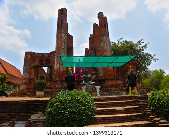 AYUTTHAYA THAILAND-11 MAY 2019:Thammikarat Temple is the former royal temple in the Ayutthaya period. Located in Ayutthaya Phra Nakhon Si Ayutthaya Province Next to the ancient palace.
