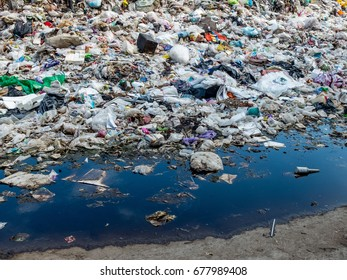 Ayutthaya, THAILAND-MAY 15, 2017, The garbage waste from household in a dumping site