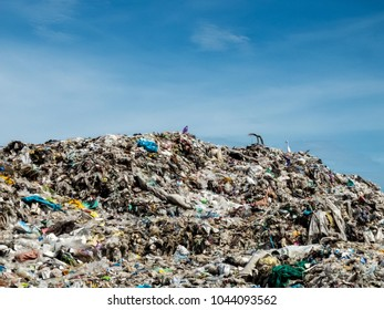 Ayutthaya, THAILAND-MAY 15, 2017, Waste from household in waste landfill. Waste disposal in dumping site in THAILAND