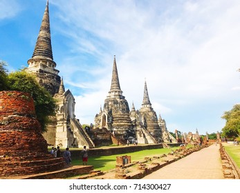 Ayutthaya,Thailand - 14 August,2017 : Wat Phra Si Sanphet,Temple of the Holy, Splendid and Omniscient,located in Ayutthaya province.