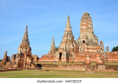 AYUTTHAYA,THAILAND - DECEMBER 28 2016: Wat Chaiwatthanaram is a Buddhist temple in the city of Ayutthaya Historical Park and was built in 1630.