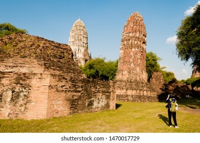 Ayutthaya,Thailand - December,12, 2016 : Pagoda at Wat rachaburana  temple,One of the famous temple in Ayutthaya,Temple in Ayutthaya Historical Park, Ayutthaya, Thailand.UNESCO world heritage