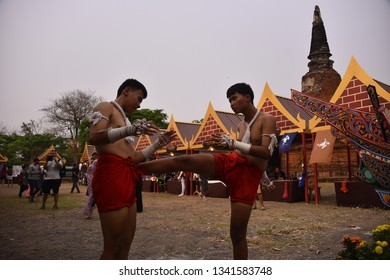 AYUTTHAYA,THAILAND - MARCH 17, 2019: Thailand Boxing Show. Wai Kru Ceremony is a demonstration of the Muay Thai boxers respect and gratitude to their teachers.