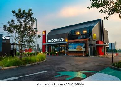 Ayutthaya,Thailand - March 7, 2018 :View in Porto Go Bangpa-in, McDonald's Restaurant in Ayutthaya,Thailand. McDonald's is an American hamburger and fast food restaurant chain