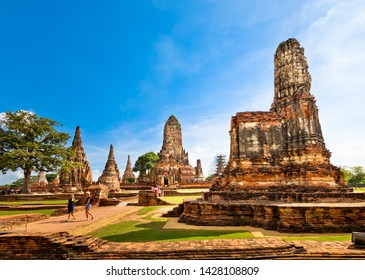 Ayutthaya,Thailand - May 18, 2019 : Pagoda at Wat Chaiwatthanaram temple,One of the famous temple in Ayutthaya,Temple in Ayutthaya Historical Park, Ayutthaya Province, Thailand. UNESCO world heritage