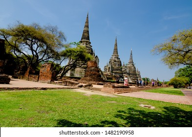 Ayutthaya,Thailand - May 18, 2019 : Pagoda at Wat Phra Si Sanphet temple,One of the famous temple in Ayutthaya,Temple in Ayutthaya Historical Park, Ayutthaya Province, Thailand. UNESCO world heritage.
