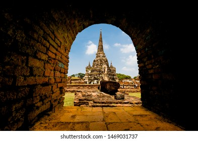 Ayutthaya,Thailand - May,18, 2019 : Pagoda at wat phra sri sanphet temple,One of the famous temple in Ayutthaya,Temple in Ayutthaya Historical Park, Ayutthaya Province, Thailand.UNESCO world heritage