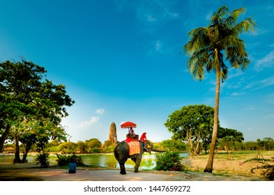 Ayutthaya,Thailand - May,18, 2019:The tourists riding elephants in Ayutthaya Historical Park in Ayutthaya. The famous world heritage site, Ayutthaya,Thailand.