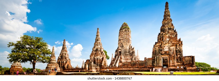 Ayutthaya,Thailand - November 11, 2018 : Pagoda at Wat Chaiwatthanaram temple,One of the famous temple in Ayutthaya,Temple in Ayutthaya Historical Park, Ayutthaya ,Thailand. UNESCO world heritage