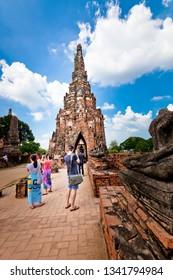 Ayutthaya,Thailand – November,11,2018 : This is the Wat Chaiwatthanaram  In Ayutthaya Historical Park , Ayutthaya ,Thailand.