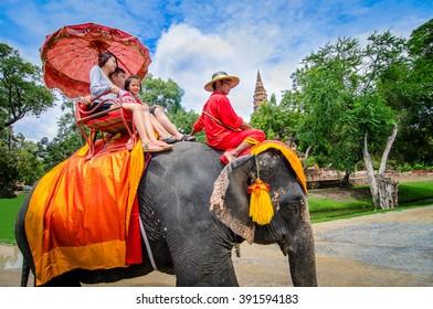 Ayutthaya,Thailand - October 11,2015: The touris on elephant  watch historic site in ayutthaya thailand