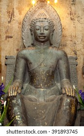 AYUTTHAYA,THAILAND-FEBRUARY 10,2010 : Phra Khan Thavarat an approximately 5.20 meters high statue made ??of dark green stone,which from the Dvaravati comes period;,Wat Na Phra Meru,Ayutthaya,Thailand.