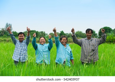 AYUTTHAYA,THAILAND-Jan 29 2016 : Happy thai farmer rice with family.