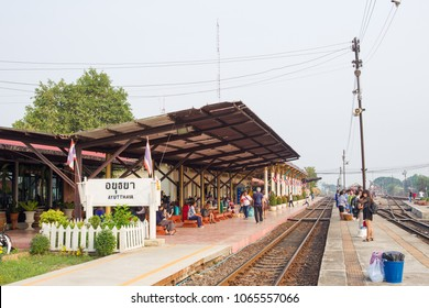 AYUTTHAYA,THAILAND-JANUARY 27, 2018 : Landscape of the Ayutthaya rail station during passenger waiting for a train.
