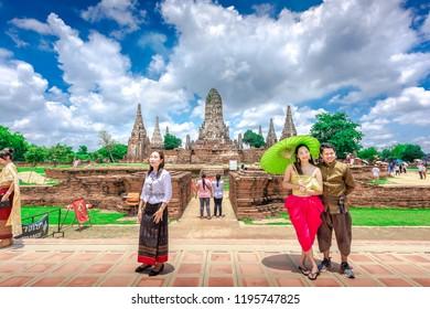 AYUTTHAYA,THAILAND-MAY.5,2018:Many tourists visit the ancient temple Wat Chaiwatthanaram located at Ayutthaya, Thailand