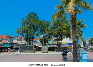 Ayvalik, Balikesir / Turkey - July 11 2015: A small square in the center of Ayvalik district