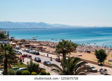 Ayvalik, Balikesir / Turkey - July 6 2015: Sarimsakli Beach on Ayvalik