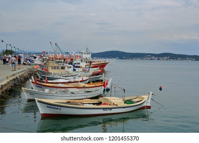 Ayvalik, Cunda / Balikesir - June 2015: Fishing boats in Cunda, the touristic town of Ayvalik.