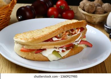 Ayvalik Tostu- Serving Turkish traditional toast sandwich