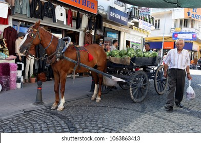 AYVALIK, TURKEY - AUGUST 05, 2009 : A Turkish man walks past a horse and cart loaded with watermelons parked on a street in Ayvalik. Ayvalik is a coastal town located on the Aegean Sea.