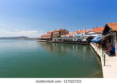 AYVALIK, TURKEY - AUGUST 15, 2018 : Old harbour view in Ayvalik Center. Ayvalik is populer tourist destination in Balikesir, Turkey.